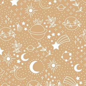 Happy earth day for boho universe lovers stars moon and green planet cinnamon yellow brown white