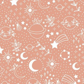 Happy earth day for boho universe lovers stars moon and green planet coral blush pink white