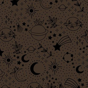 Happy earth day for boho universe lovers stars moon and green planet Chocolate brown black
