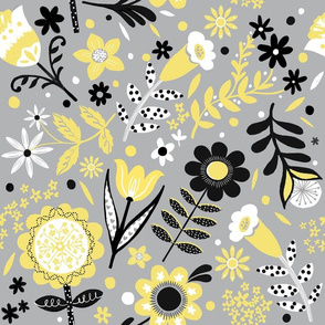 Yellow and Grey Folk Floral