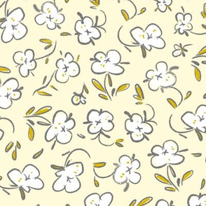 Grey and yellow ditsy vintage