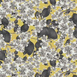 Cherry blossom on golden yellow