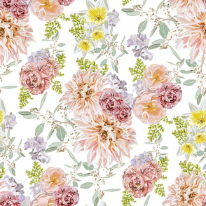 Pastel Spring Flowers (White)