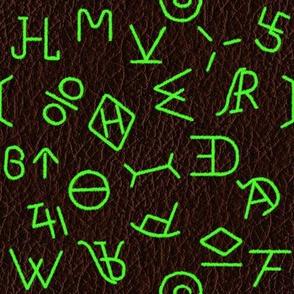Neon Green Brands on dark leather