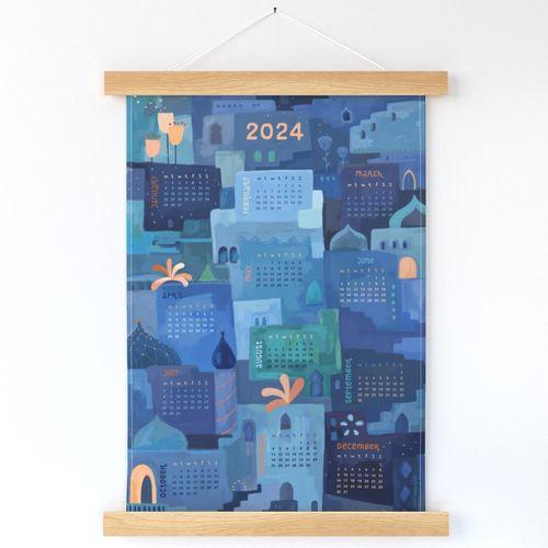 Tea Towel Indigo Calendar 2022