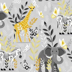 4x4 Safari Yellow and Grey light background medium scale pantone 2021 illuminating and ultimate grey