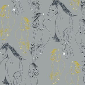 Yellow and Grey Horses