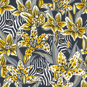 zebras and tiger lilies