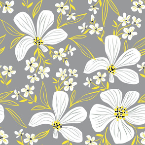 Flowers in colors yellow and gray
