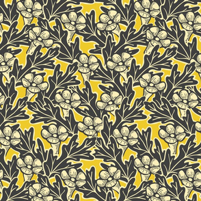 Trumpet Flower Grid - Large - Yellow, Gray