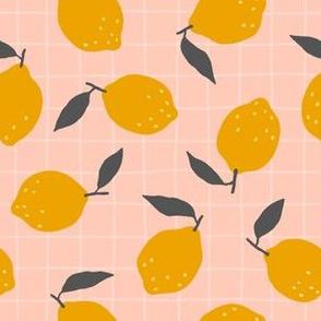 lemons plaid pattern pink