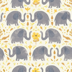 Elephants and Yellow Daisies - Collage Style