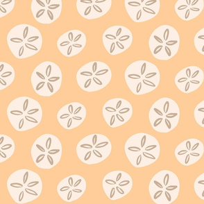 Sand Dollars Shells Beach Ocean Sunny Summer in Yellow Brown Large Scale