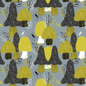 Mushroom Forest Yellow Gray large