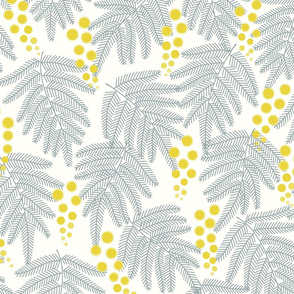 mimosa yellow and gray Large scale by Pippa Shaw