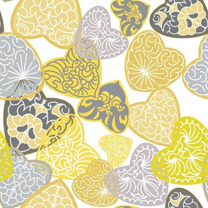 Carved Hearts -Yellow and Gray on White