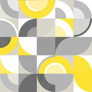 Sunny Abstract Bauhaus - Yellow and Gray - XL