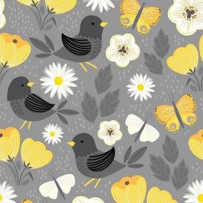 blackbird and crocus
