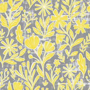 Sunny floral - Illuminating yellow and Ultimate Gray - large scale