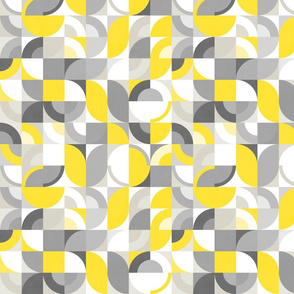 Sunny Abstract Bauhaus - Yellow and Gray - S