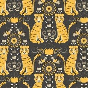 tiger damask yellow and grey