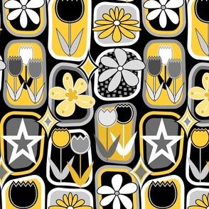 Mid Century Modern Flowers // Tulips, Daisies, Stars // Yellow, Gray, Black and White