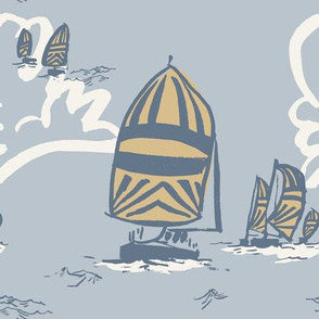 """Sailboats in Yellow and Blue , Large, 10.5""""x10.5"""""""