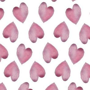 Watercolor Hearts Pink