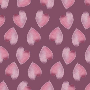 Watercolor Pink Hearts Dark Background