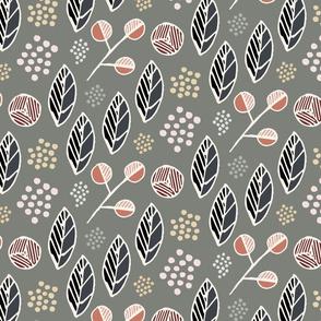 Indigenous Flora - Olive Grey - Large