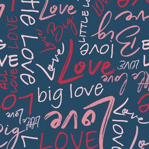 Big Little Love - Red Pink on Blue Medium Scale