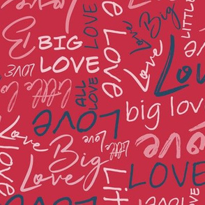 Big Little Love - Pink Blue on Red Medium Scale