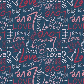 Big Little Love - Red Pink on Blue Small Scale