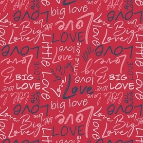 Big Little Love - Pink Blue on Red Small Scale