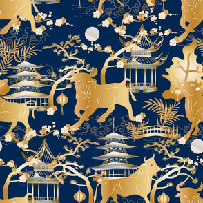 Year of the Metal Ox Toile Chinoiserie- Lunar New Year- Japanese Pagoda- Gold on Prussian Blue- Large Scale