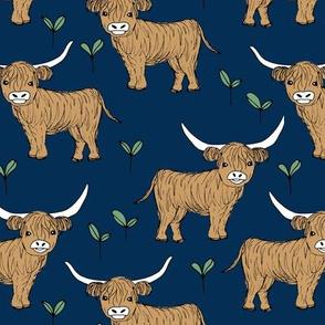 Adorable highland cattle fields sweet spring cows with horns Scandinavian kids design navy blue ginger green