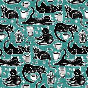 Black Cats & Coffee on Teal - Medium Scale
