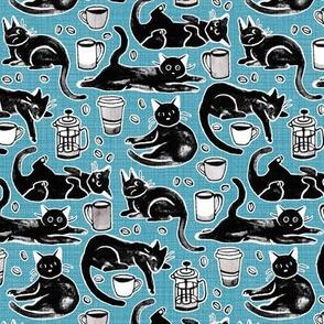 Black Cats & Coffee on Light Blue  - Medium Scale