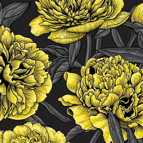Night peony garden in yellow and gray, big size