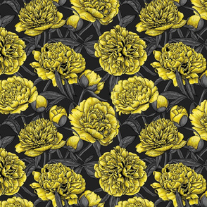Night peony garden in yellow and gray, small size