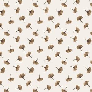 Ginkgo biloba. Beige background. Micro scale