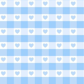 Blue Gingham with Hearts