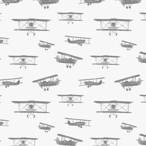 Grey retro airplanes - watercolor planes for baby boy nursery