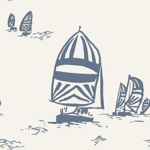 Whimsy Sailboats Light in Ocean