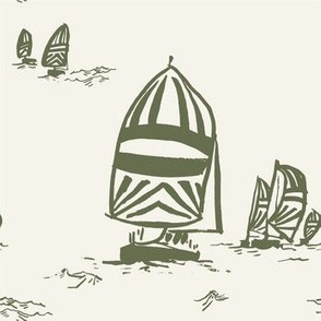 Whimsy Sailboats Light in Olive-01