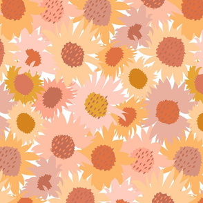 Sunflowers Field Dense Floral Peach Yellow Orange Pink Large Scale