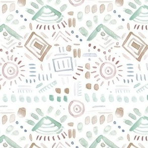 watercolor geometrical aztec pattern - painterly abstract mudcloth - brush stroke design for modern home decor bedding nursery - a078-5