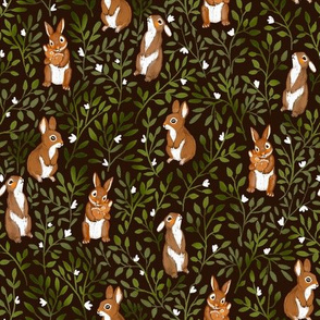leaves and bunnies black