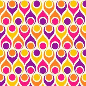Atomic era teardrops circles retro 70s colorful pink yellow purple Fabric