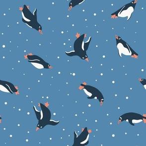 Swimming penguins underwater